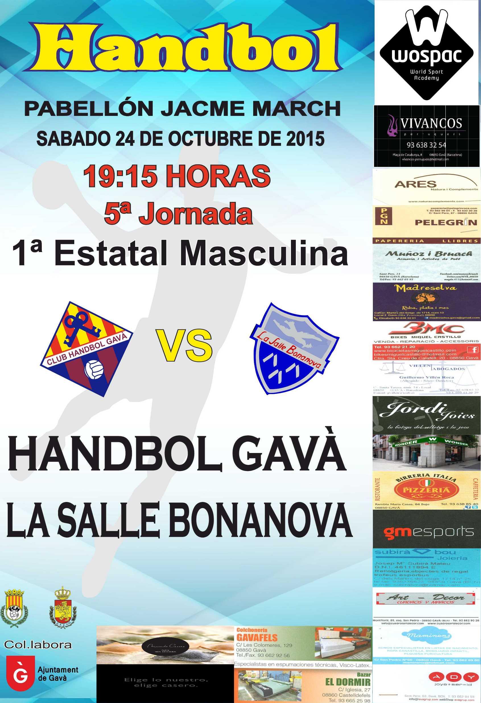 Senior a vs la salle bonanova club handbol gav for Piscina la salle bonanova